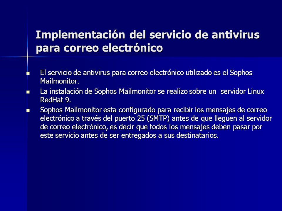 Implementación del servicio de antivirus para correo electrónico El servicio de antivirus para correo electrónico utilizado es el Sophos Mailmonitor.
