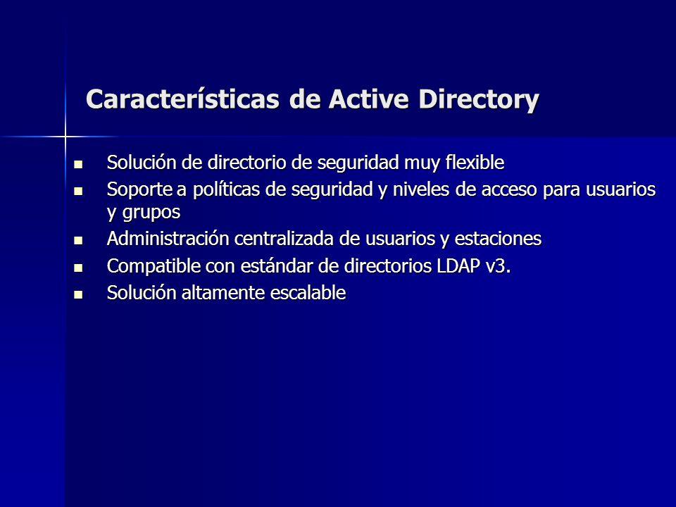 Características de Active Directory Solución de directorio de seguridad muy flexible Solución de directorio de seguridad muy flexible Soporte a políti