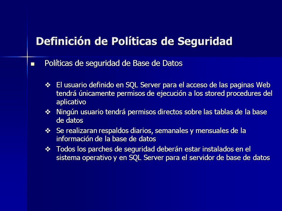 Definición de Políticas de Seguridad Políticas de seguridad de Base de Datos Políticas de seguridad de Base de Datos El usuario definido en SQL Server