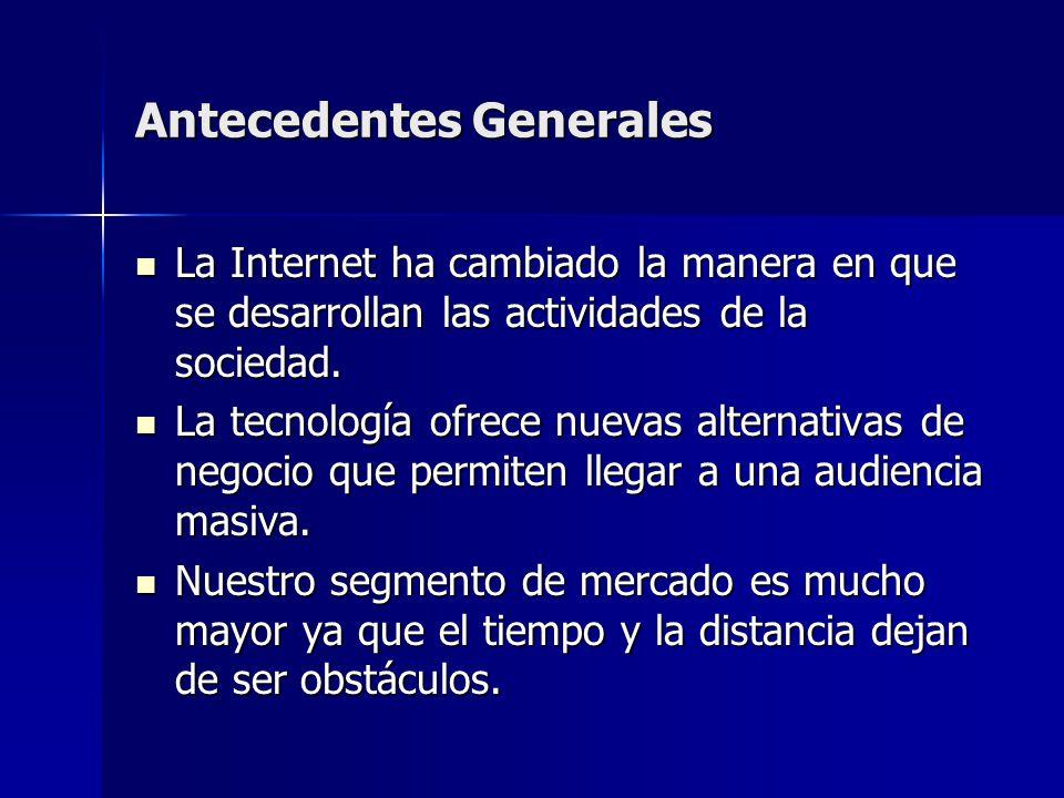Antecedentes Generales La Internet ha cambiado la manera en que se desarrollan las actividades de la sociedad. La Internet ha cambiado la manera en qu