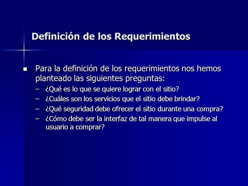 Definición de los Requerimientos Para la definición de los requerimientos nos hemos planteado las siguientes preguntas: Para la definición de los requ