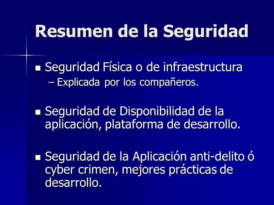 Resumen de la Seguridad Seguridad Física o de infraestructura Seguridad Física o de infraestructura –Explicada por los compañeros. Seguridad de Dispon