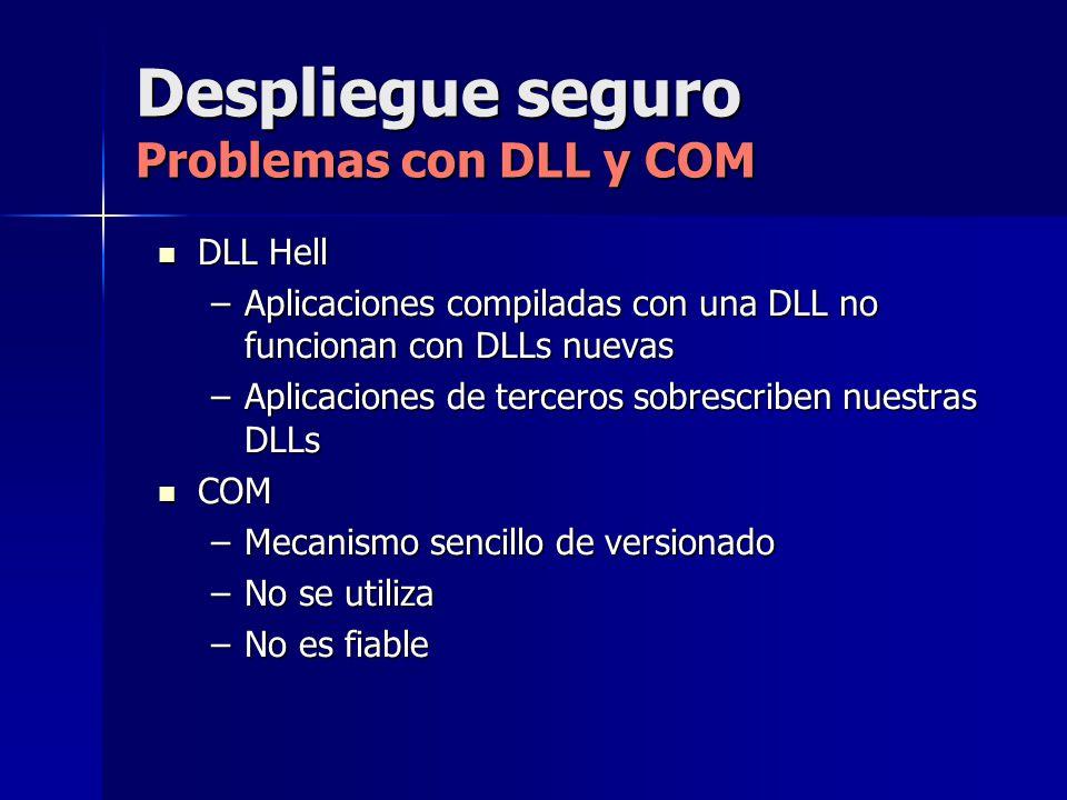 Despliegue seguro Problemas con DLL y COM DLL Hell DLL Hell –Aplicaciones compiladas con una DLL no funcionan con DLLs nuevas –Aplicaciones de tercero