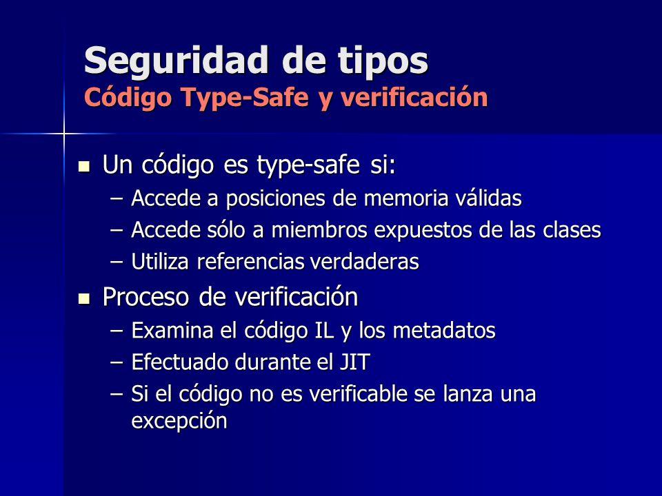 Seguridad de tipos Código Type-Safe y verificación Un código es type-safe si: Un código es type-safe si: –Accede a posiciones de memoria válidas –Acce