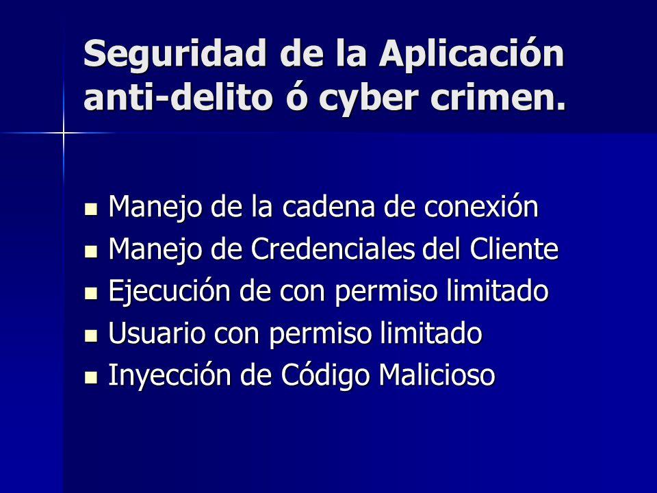 Seguridad de la Aplicación anti-delito ó cyber crimen. Manejo de la cadena de conexión Manejo de la cadena de conexión Manejo de Credenciales del Clie