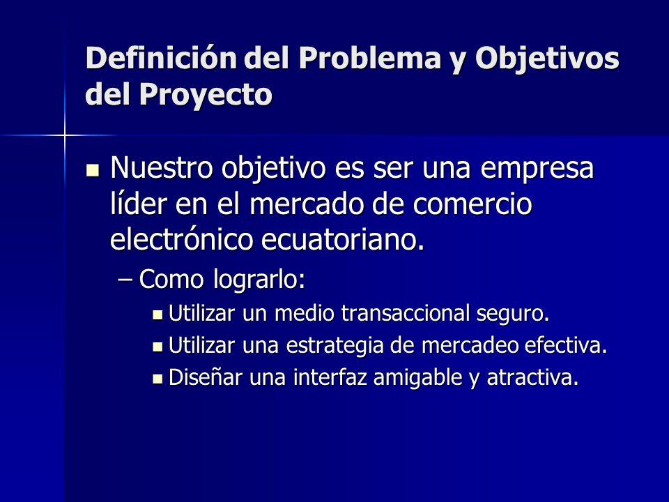 Definición del Problema y Objetivos del Proyecto Nuestro objetivo es ser una empresa líder en el mercado de comercio electrónico ecuatoriano. Nuestro