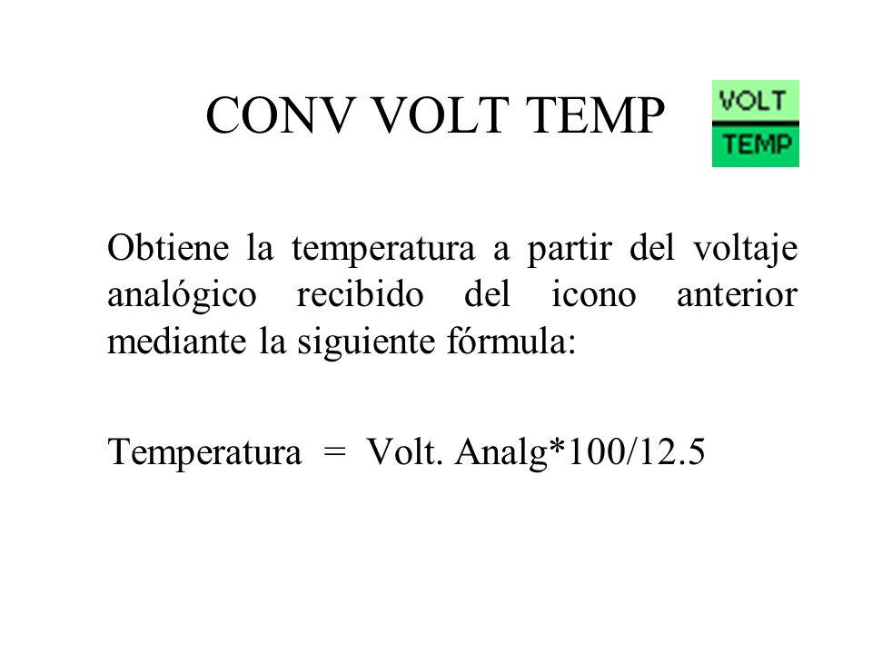 CONV VOLT TEMP Obtiene la temperatura a partir del voltaje analógico recibido del icono anterior mediante la siguiente fórmula: Temperatura = Volt.