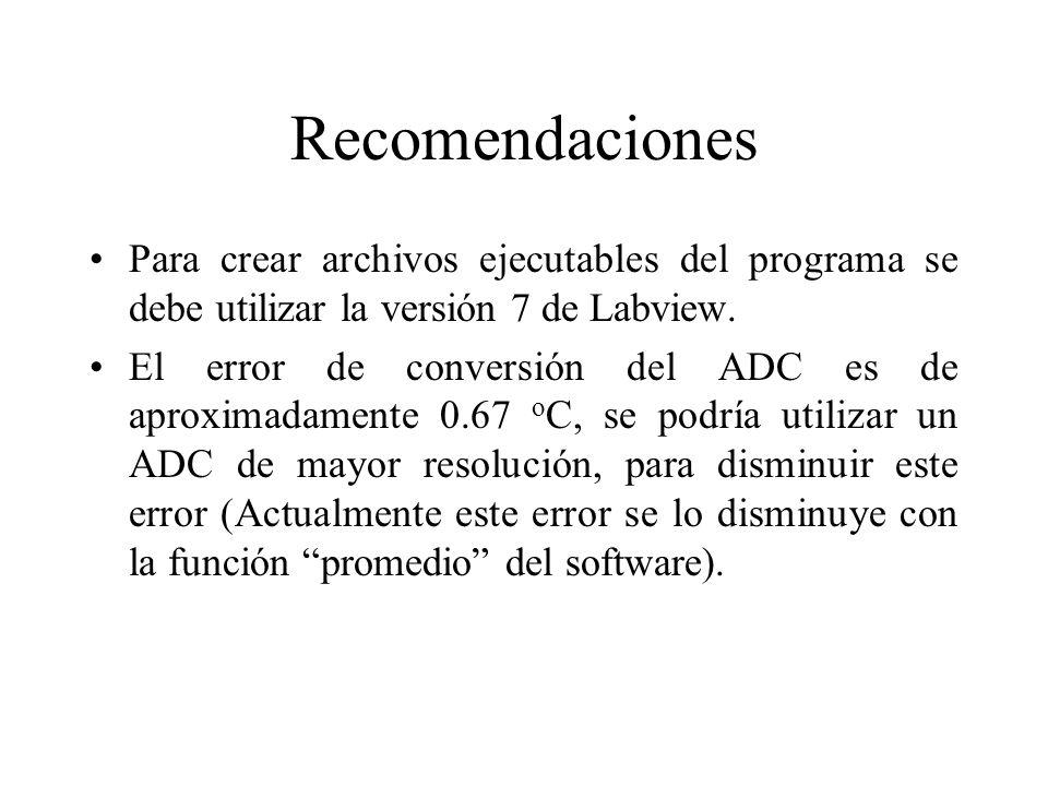 Recomendaciones Para crear archivos ejecutables del programa se debe utilizar la versión 7 de Labview.