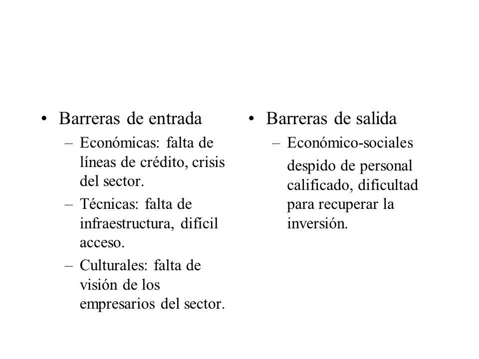Barreras de entrada –Económicas: falta de líneas de crédito, crisis del sector.