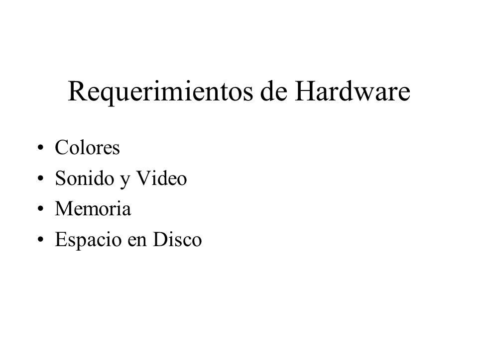 Requerimientos de Hardware Colores Sonido y Video Memoria Espacio en Disco