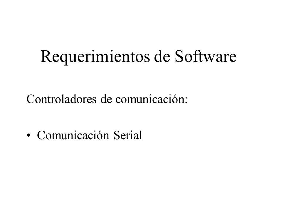 Requerimientos de Software Controladores de comunicación: Comunicación Serial