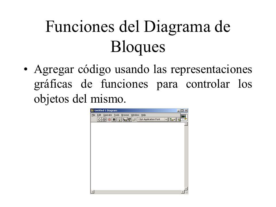 Funciones del Diagrama de Bloques Agregar código usando las representaciones gráficas de funciones para controlar los objetos del mismo.