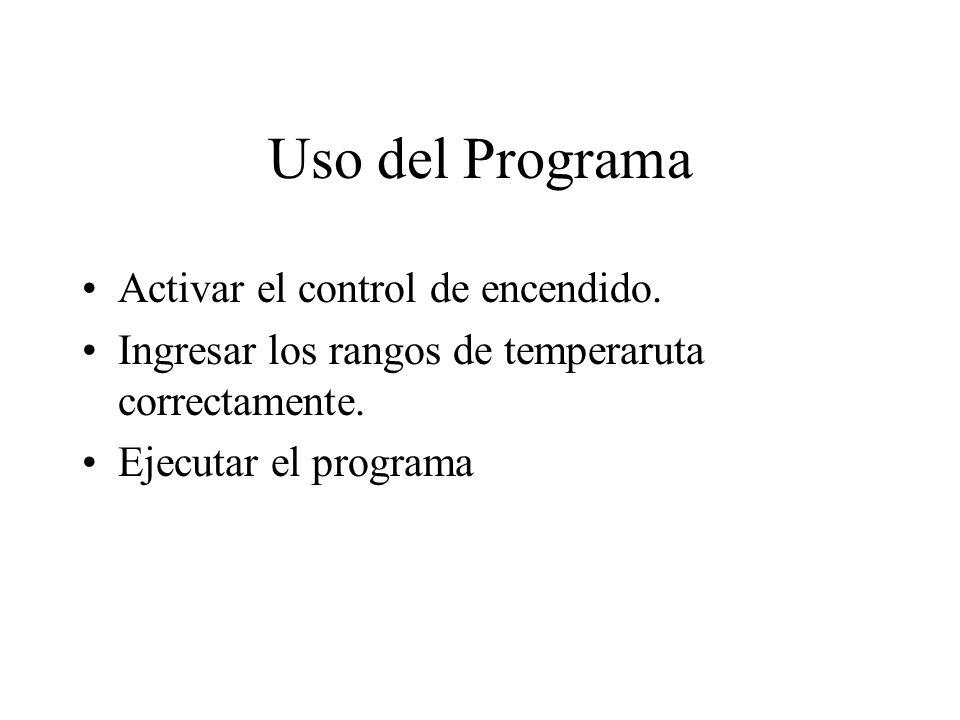 Uso del Programa Activar el control de encendido.Ingresar los rangos de temperaruta correctamente.