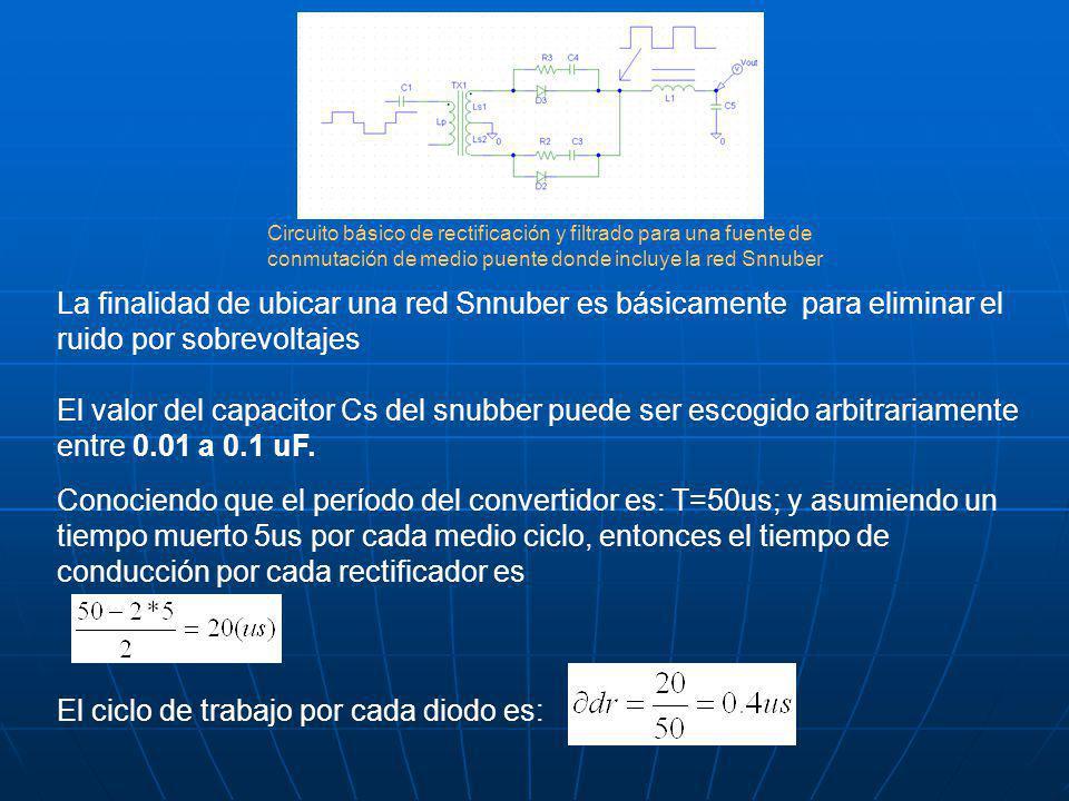 La finalidad de ubicar una red Snnuber es básicamente para eliminar el ruido por sobrevoltajes El valor del capacitor Cs del snubber puede ser escogido arbitrariamente entre 0.01 a 0.1 uF.