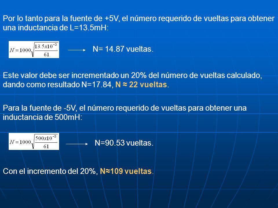 Por lo tanto para la fuente de +5V, el número requerido de vueltas para obtener una inductancia de L=13.5mH: N= 14.87 vueltas.