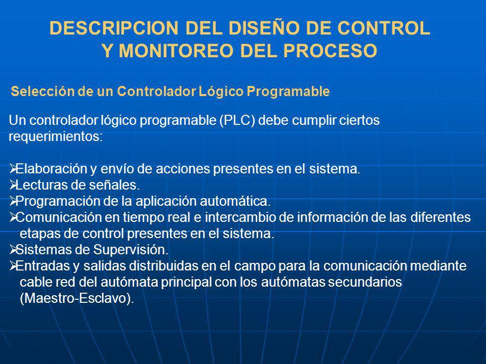 DESCRIPCION DEL DISEÑO DE CONTROL Y MONITOREO DEL PROCESO Selección de un Controlador Lógico Programable Un controlador lógico programable (PLC) debe cumplir ciertos requerimientos: Elaboración y envío de acciones presentes en el sistema.
