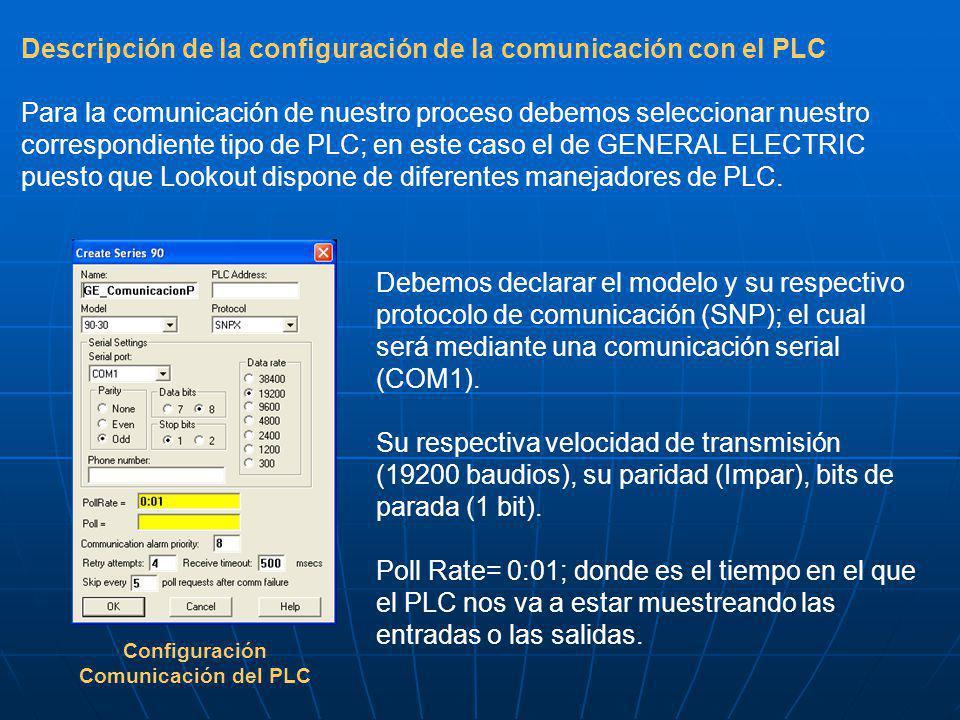 Descripción de la configuración de la comunicación con el PLC Para la comunicación de nuestro proceso debemos seleccionar nuestro correspondiente tipo de PLC; en este caso el de GENERAL ELECTRIC puesto que Lookout dispone de diferentes manejadores de PLC.