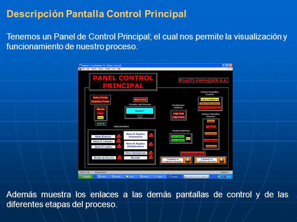 Descripción Pantalla Control Principal Tenemos un Panel de Control Principal; el cual nos permite la visualización y funcionamiento de nuestro proceso.