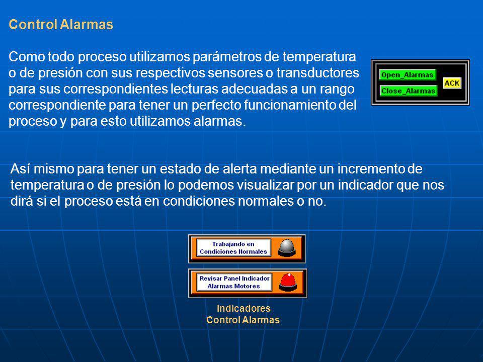 Control Alarmas Como todo proceso utilizamos parámetros de temperatura o de presión con sus respectivos sensores o transductores para sus correspondie