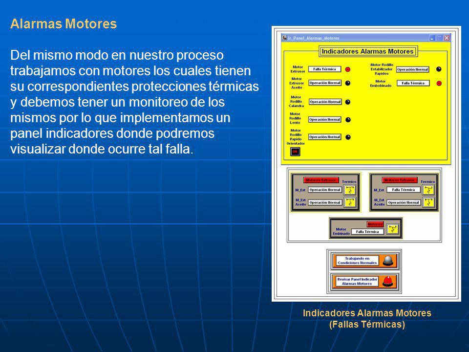 Alarmas Motores Del mismo modo en nuestro proceso trabajamos con motores los cuales tienen su correspondientes protecciones térmicas y debemos tener un monitoreo de los mismos por lo que implementamos un panel indicadores donde podremos visualizar donde ocurre tal falla.