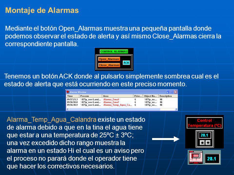 Montaje de Alarmas Mediante el botón Open_Alarmas muestra una pequeña pantalla donde podemos observar el estado de alerta y así mismo Close_Alarmas ci