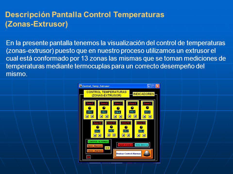 Descripción Pantalla Control Temperaturas (Zonas-Extrusor) En la presente pantalla tenemos la visualización del control de temperaturas (zonas-extrusor) puesto que en nuestro proceso utilizamos un extrusor el cual está conformado por 13 zonas las mismas que se toman mediciones de temperaturas mediante termocuplas para un correcto desempeño del mismo.
