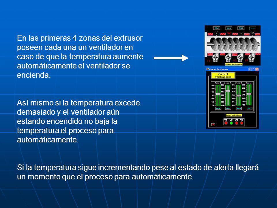 En las primeras 4 zonas del extrusor poseen cada una un ventilador en caso de que la temperatura aumente automáticamente el ventilador se encienda. As