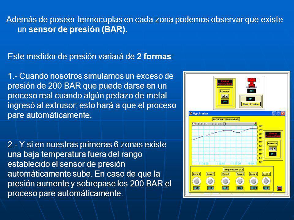Además de poseer termocuplas en cada zona podemos observar que existe un sensor de presión (BAR). Este medidor de presión variará de 2 formas: 1.- Cua