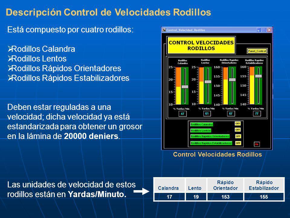 Descripción Control de Velocidades Rodillos Control Velocidades Rodillos Está compuesto por cuatro rodillos: Rodillos Calandra Rodillos Lentos Rodillos Rápidos Orientadores Rodillos Rápidos Estabilizadores Deben estar reguladas a una velocidad; dicha velocidad ya está estandarizada para obtener un grosor en la lámina de 20000 deniers.