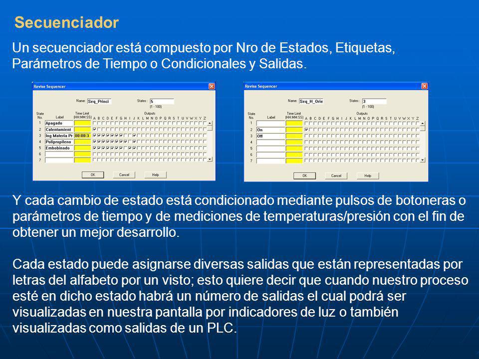 Secuenciador Un secuenciador está compuesto por Nro de Estados, Etiquetas, Parámetros de Tiempo o Condicionales y Salidas. Y cada cambio de estado est