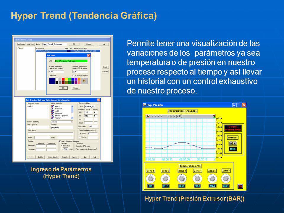 Hyper Trend (Tendencia Gráfica) Permite tener una visualización de las variaciones de los parámetros ya sea temperatura o de presión en nuestro proceso respecto al tiempo y así llevar un historial con un control exhaustivo de nuestro proceso.
