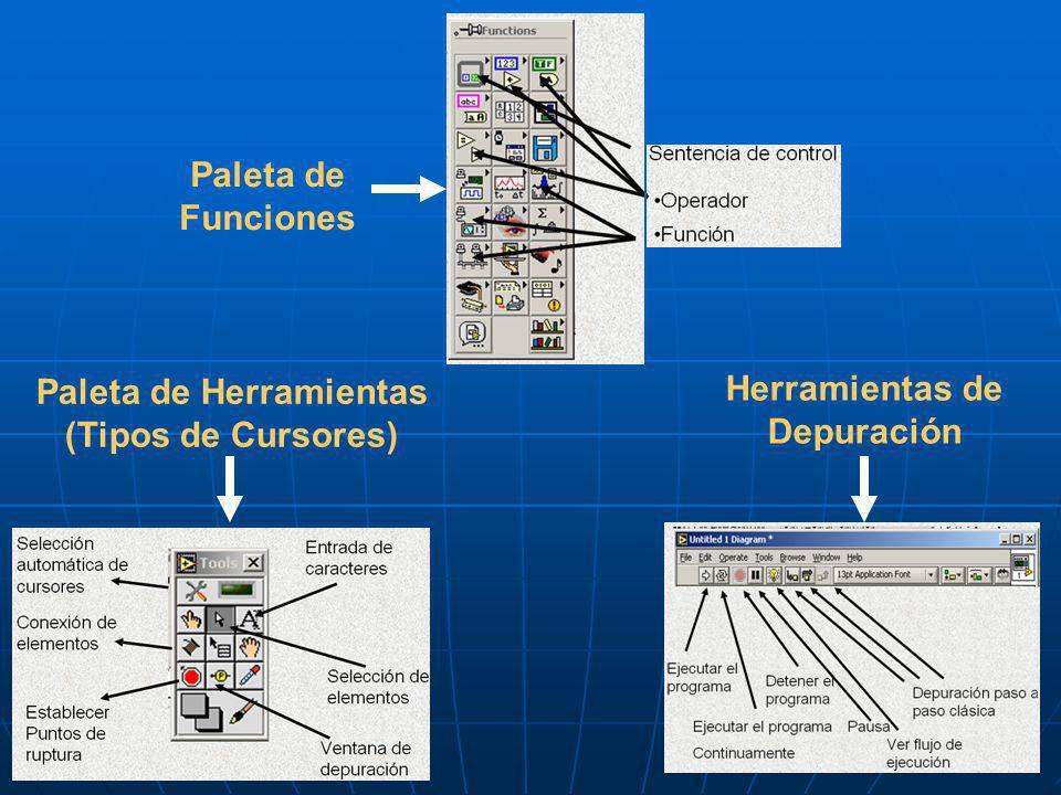 Paleta de Funciones Paleta de Herramientas (Tipos de Cursores) Herramientas de Depuración