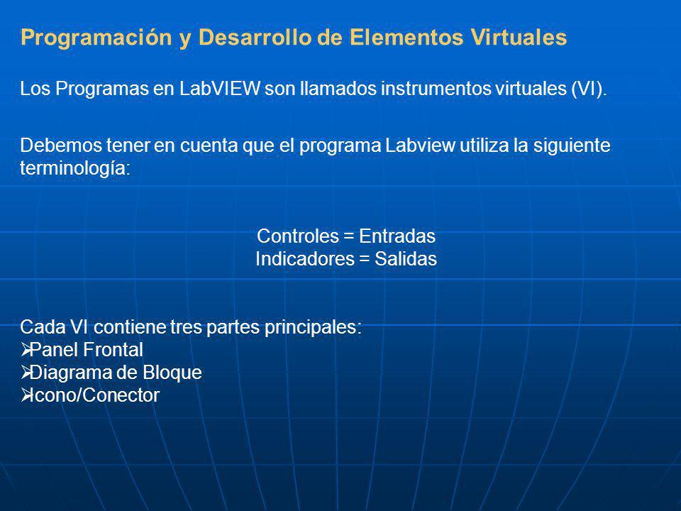 Programación y Desarrollo de Elementos Virtuales Los Programas en LabVIEW son llamados instrumentos virtuales (VI). Debemos tener en cuenta que el pro