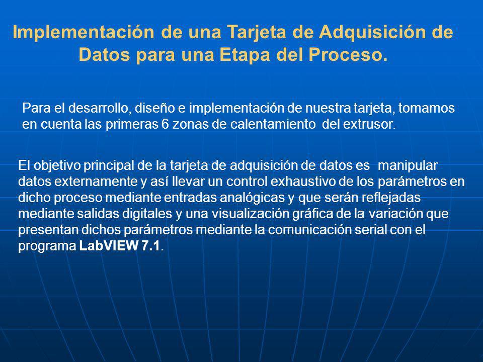 Implementación de una Tarjeta de Adquisición de Datos para una Etapa del Proceso. Para el desarrollo, diseño e implementación de nuestra tarjeta, toma