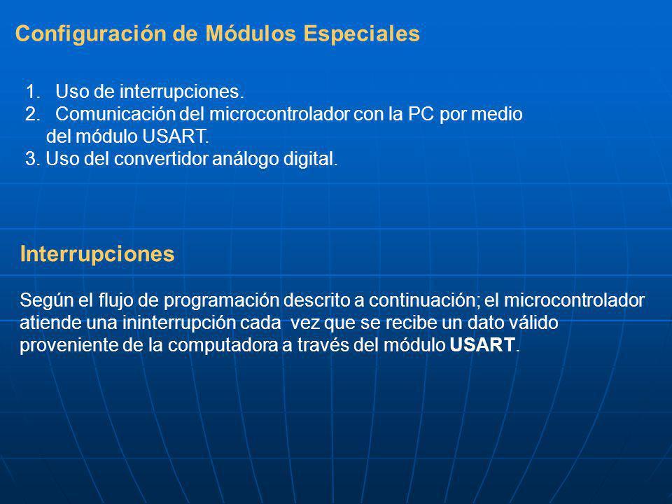 Configuración de Módulos Especiales 1. Uso de interrupciones. 2. Comunicación del microcontrolador con la PC por medio del módulo USART. 3. Uso del co