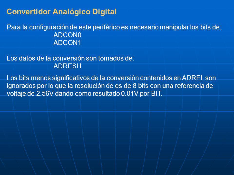 Convertidor Analógico Digital Para la configuración de este periférico es necesario manipular los bits de: ADCON0 ADCON1 Los datos de la conversión son tomados de: ADRESH Los bits menos significativos de la conversión contenidos en ADREL son ignorados por lo que la resolución de es de 8 bits con una referencia de voltaje de 2.56V dando como resultado 0.01V por BIT.