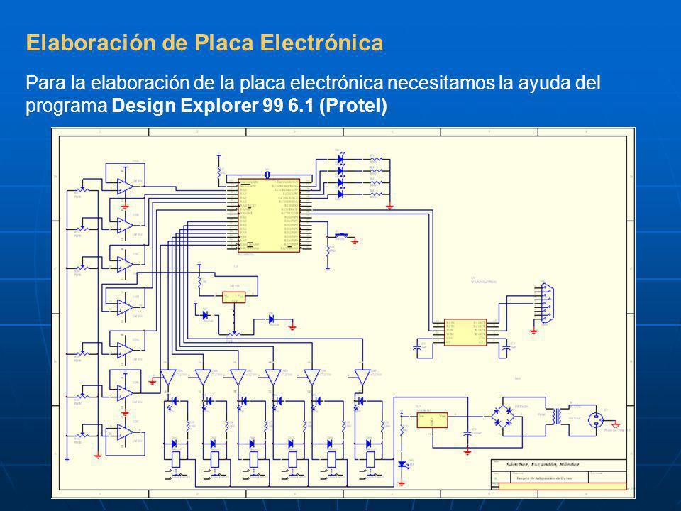 Elaboración de Placa Electrónica Para la elaboración de la placa electrónica necesitamos la ayuda del programa Design Explorer 99 6.1 (Protel)