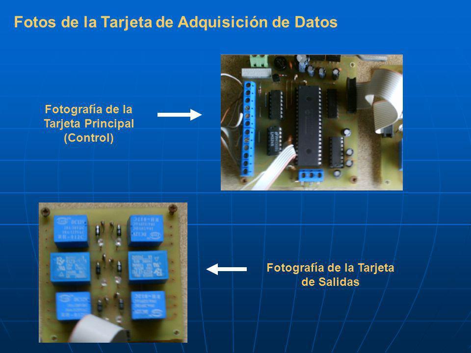 Fotos de la Tarjeta de Adquisición de Datos Fotografía de la Tarjeta Principal (Control) Fotografía de la Tarjeta de Salidas