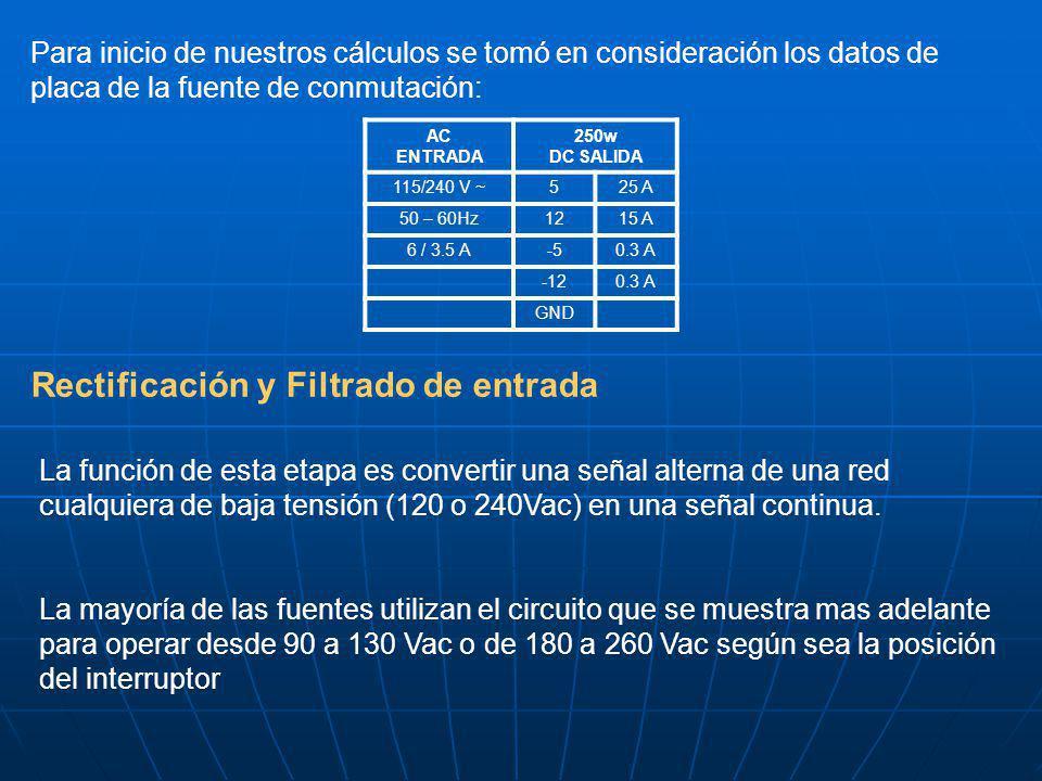 Para inicio de nuestros cálculos se tomó en consideración los datos de placa de la fuente de conmutación: AC ENTRADA 250w DC SALIDA 115/240 V ~525 A 5
