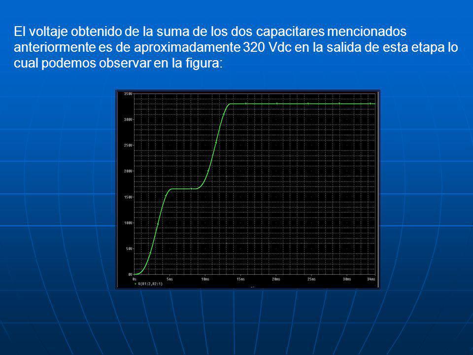 El voltaje obtenido de la suma de los dos capacitares mencionados anteriormente es de aproximadamente 320 Vdc en la salida de esta etapa lo cual podem