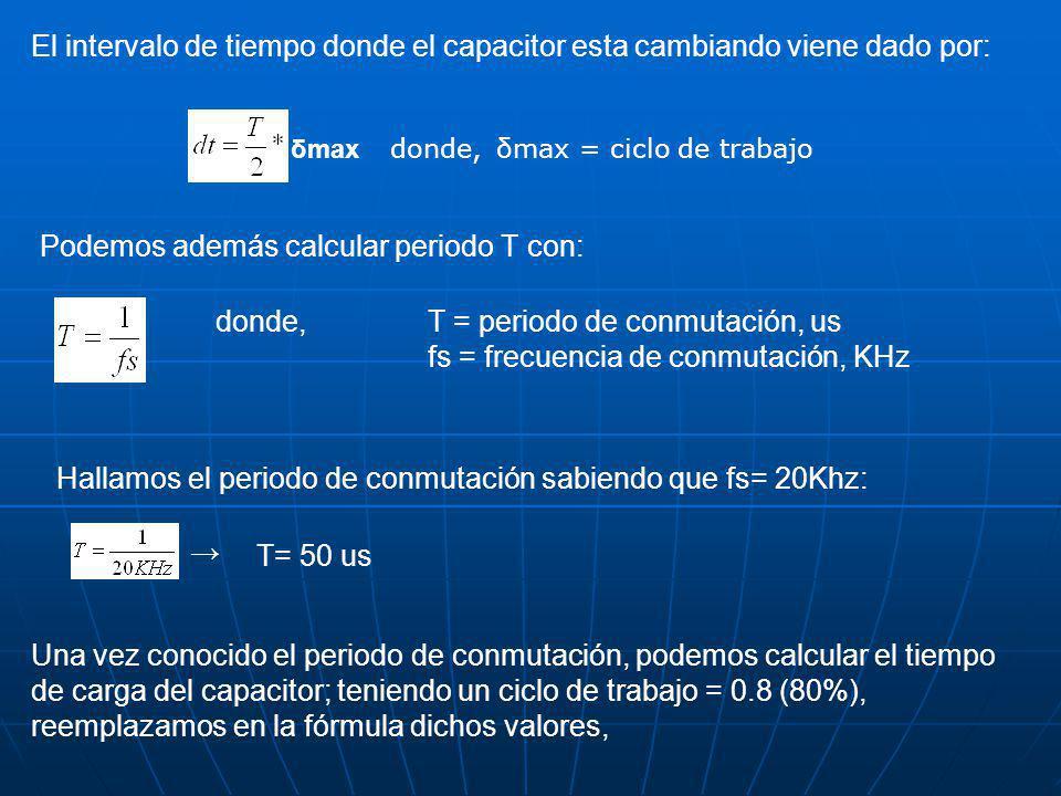 El intervalo de tiempo donde el capacitor esta cambiando viene dado por: δmax donde,δmax = ciclo de trabajo Podemos además calcular periodo T con: donde,T = periodo de conmutación, us fs = frecuencia de conmutación, KHz Hallamos el periodo de conmutación sabiendo que fs= 20Khz: T= 50 us Una vez conocido el periodo de conmutación, podemos calcular el tiempo de carga del capacitor; teniendo un ciclo de trabajo = 0.8 (80%), reemplazamos en la fórmula dichos valores,