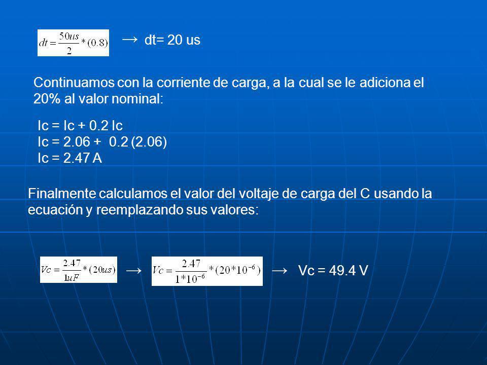 dt= 20 us Continuamos con la corriente de carga, a la cual se le adiciona el 20% al valor nominal: Ic = Ic + 0.2 Ic Ic = 2.06 + 0.2 (2.06) Ic = 2.47 A Finalmente calculamos el valor del voltaje de carga del C usando la ecuación y reemplazando sus valores: Vc = 49.4 V