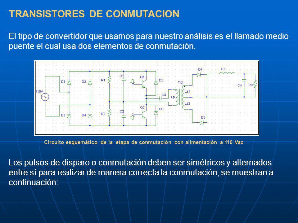TRANSISTORES DE CONMUTACION El tipo de convertidor que usamos para nuestro análisis es el llamado medio puente el cual usa dos elementos de conmutació