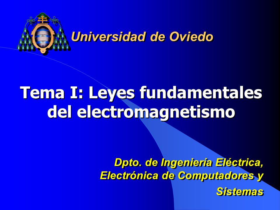 Tema I: Leyes fundamentales del electromagnetismo Universidad de Oviedo Dpto.