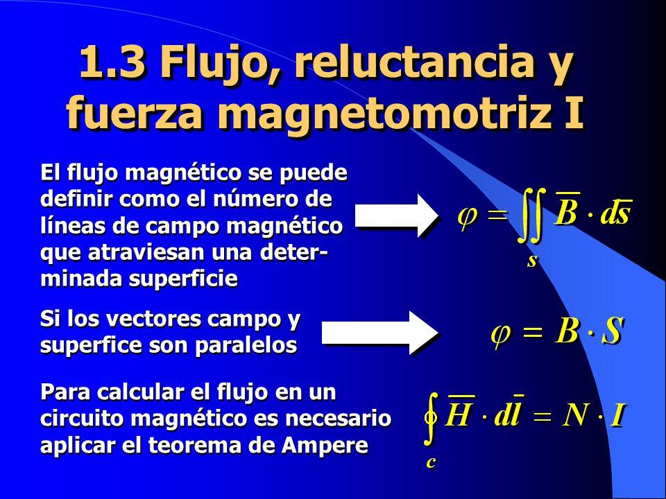 1.3 Flujo, reluctancia y fuerza magnetomotriz I El flujo magnético se puede definir como el número de líneas de campo magnético que atraviesan una deter- minada superficie Si los vectores campo y superfice son paralelos Para calcular el flujo en un circuito magnético es necesario aplicar el teorema de Ampere
