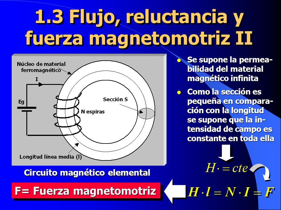 1.3 Flujo, reluctancia y fuerza magnetomotriz II Circuito magnético elemental l Se supone la permea- bilidad del material magnético infinita l Como la sección es pequeña en compara- ción con la longitud se supone que la in- tensidad de campo es constante en toda ella F= Fuerza magnetomotriz