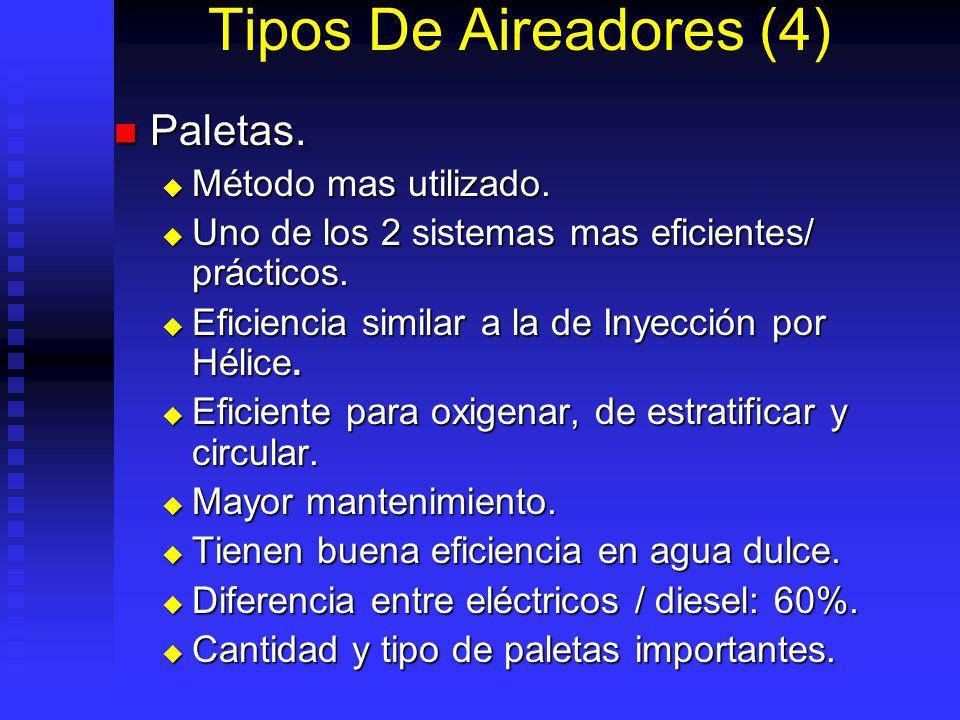 Tipos De Aireadores (4) Paletas.Paletas. Método mas utilizado.