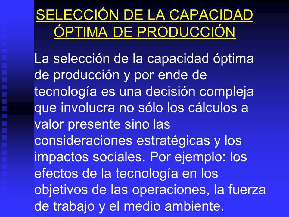 CONSIDERACIONES SOBRE EL TAMAÑO PARA UN ESTUDIO DE REEMPLAZO En este caso el tamaño será la capacidad real de producción del equipo que se pretende ad