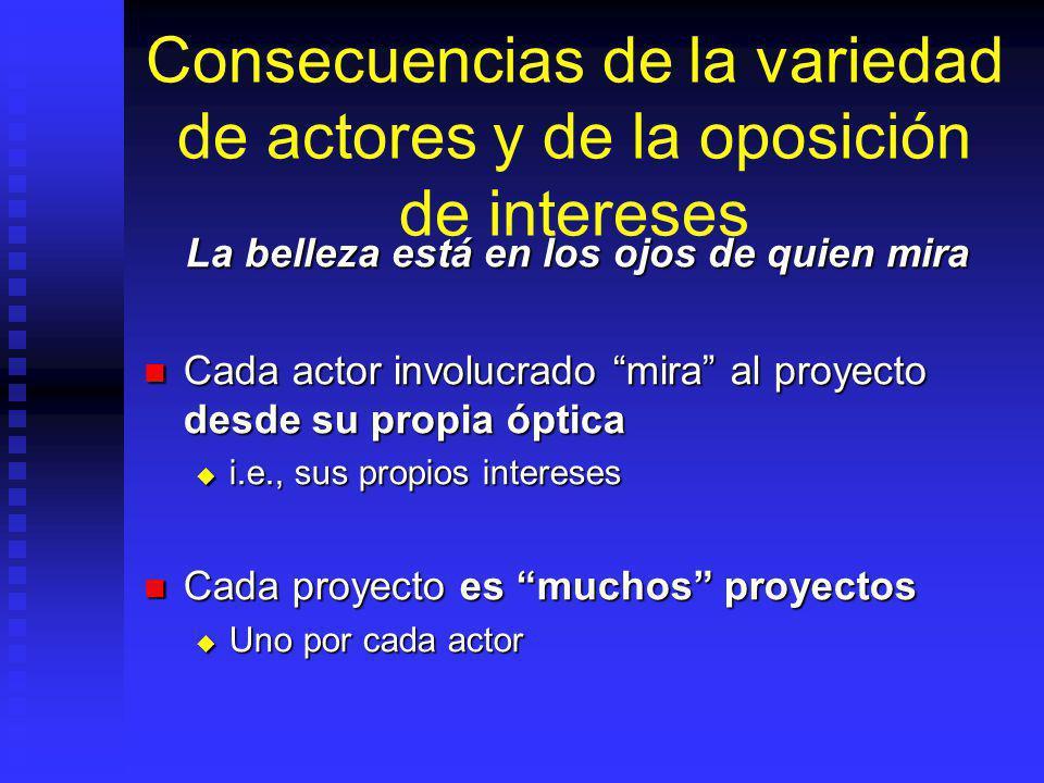 Actores involucrados Cada actor o grupo de actores tiene sus propios intereses, no necesariamente coincidentes: Cada actor o grupo de actores tiene su