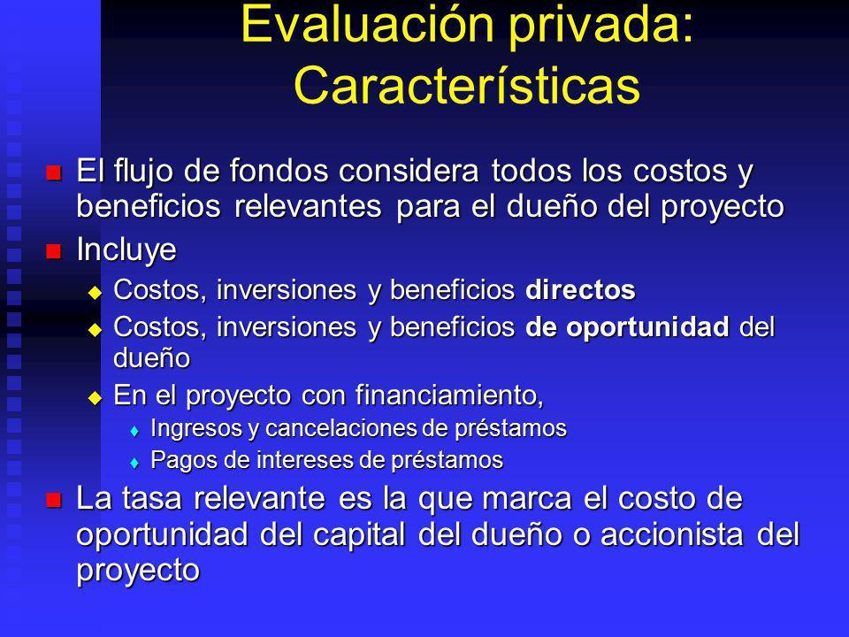 Enfoques de la evaluación: Enfoques básicos Privada: Efectos relevantes para el dueño o impulsor del proyecto Privada: Efectos relevantes para el dueñ